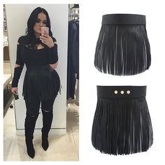 This fringe belt is the perfect addition to any outfit. Faux leather with snap buttons to fit sizes small - large. Model is wearing one size that fits sizes small - large. In stock Fashion 101, Grunge Fashion, Boho Fashion, Fashion Outfits, Womens Fashion, Fashion Hair, Fashion Ideas, All Black Outfit For Work, Black Leather Shorts
