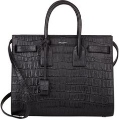 Saint Laurent Croc-Stamped Small Sac De Jour ($2,990) ❤ liked on Polyvore featuring bags, handbags, purses, сумки, black, genuine leather purse, yves saint laurent handbags, crocodile leather handbags, leather handbags and real leather handbags