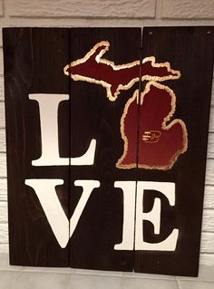 LOVE Central Michigan University Wooden Sign by DutchGirlDecor