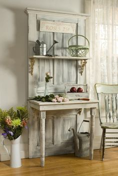 Door+ cut a small table in half and attached to door+ add shelf and decorative brackets...great piece for inspiration.