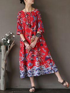 Folk Style Women Random Printed Midi Dress With Pocket