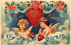 Valentine Postcard Embossed Cupids in Clouds with Hearts Printed in Germany