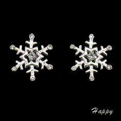 Snowflake Winter Holiday Christmas Wedding Stud Earring Jewel 18K W/Gp Clear 521