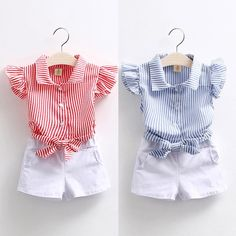 Kids Clothes Girls Summer Sets 2017 Fashion Sleeveless Turn Down Collar Striped Blouse+White Shorts Baby Girls Outfits Baby Girl Fashion, Toddler Fashion, Kids Fashion, Baby Girl Dresses, Baby Dress, Kids Frocks Design, Fancy Blouse Designs, 2 Piece Outfits, Cute Baby Clothes