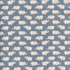 Tissu Eléphants bleus