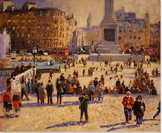 John Haskins, Original oil painting on panel, Trafalgar Square