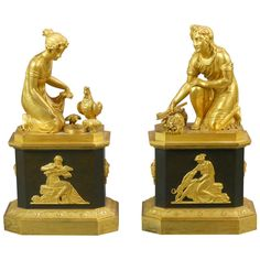 A Pair of Empire Gilt Bronze Figural Chenets | From a unique collection of antique and modern decorative objects at http://www.1stdibs.com/furniture/more-furniture-collectibles/decorative-objects/