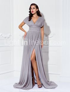 38383ad801d Sheath   Column V Neck Sweep   Brush Train Chiffon Formal Evening Dress  with Ruched   Pleats by TS Couture®