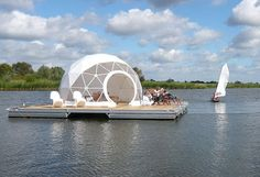 live-aboard - this floating dome home drifted between Hamburg and Berlin making…