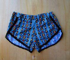 NAVAJO High Cut Track Shorts w/ Lace Trim Tribal summer beach fashion native print with pom poms festival