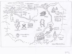 Camp Half-Blood Map by TheAmazingElizabeth on DeviantArt Percy Jackson Cabins, Percy Jackson Leo, Percy Jackson Quotes, Percy Jackson Books, Camp Half Blood Map, Camp Half Blood Cabins, House Of Hades, Mark Of Athena, Films