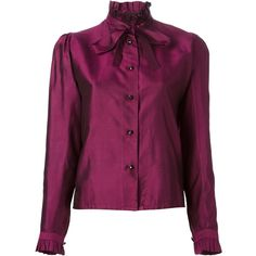 Emanuel Ungaro Vintage Ribbon Tie Shirt (560 BRL) ❤ liked on Polyvore featuring tops, blouses, shirts, vintage blouses, long sleeve shirts, purple long sleeve blouse, stand collar shirt and long sleeve blouse
