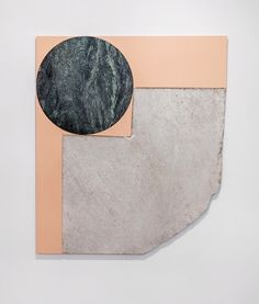 Sam Moyer at Sean Kelly, New York Wide Eye, 2017 stone, canvas, MDF 65 x 56 inches (165.1 x 142.2 cm) - Sight Unseen
