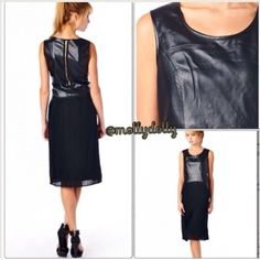 Winter Leather Pleated Zip Back Midi Long Dress Black Faux leather dress with pleated bottom. Midi style! Runs true to size. Leather looks extremely real with its great quality! Only S and M left! Dresses Midi