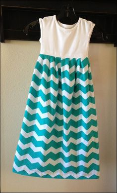 Chevron Dresses for Little Girls Green