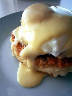 Create these Thanksgiving-themed eggs benedict by turning leftover mashed potatoes into potato cakes, then topping with turkey, a poached egg and homemade hollandaise sauce.