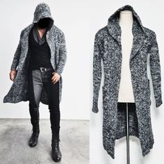 Re Edge Long Hood Chunky Knit Cape Coat-Coat 59 Onesize US Size XS-M via SNEAKERJEANS STREETWEAR SHOP
