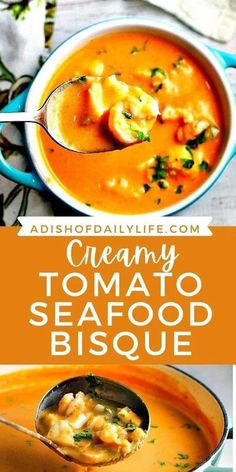 Creamy Tomato Seafood Bisque...Tomatoes and cream cheese add a rich creaminess to this delicious seafood bisque recipe. You won�t be able to stop at just one bowl! #soup #comfortfood #bisque