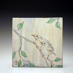 "Mel Griffin, Birds 10""x10"" tile #1. tile, bird illustration, earthenware www.melgriffin.com"