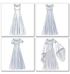 View D is very much like Eowyn's white dress in Two Towers... Medieval dress pattern arwen sewing