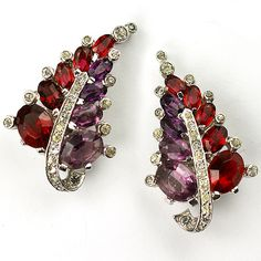 Mazer Ruby and Amethyst Leaves Clip Earrings
