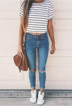 Striped shirt, knee ripped jeans, adidas superstars