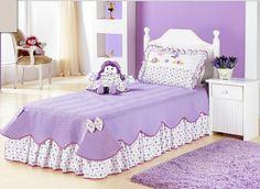 cubrelecho morado Little Girl Bedrooms, Girls Bedroom, Teen Decor, Couch Covers, Kid Beds, Bed Design, Bed Spreads, Comforter Sets, Girl Room