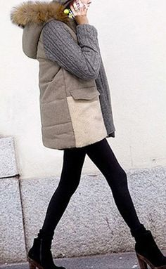 Color Block Long Sleeves Hooded Cotton Noble Style Coat  dresslily.com