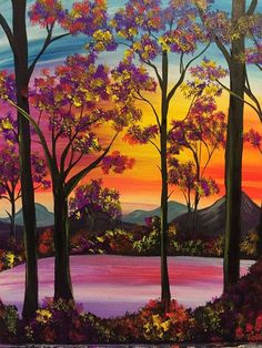 Painting Parties & Classes in Fort Collins - Paint & Sip Eve.- Painting Parties & Classes in Fort Collins – Paint & Sip Events Shimmering Sunset - Canvas Painting Projects, Acrylic Painting Canvas, Abstract Canvas, Watercolor Paintings, China Painting, Painting Flowers, Landscape Art, Landscape Paintings, Pineapple Painting