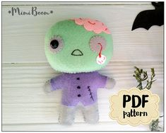 This is a digital tutorial on how to make the Zombie  Included step by step instructions, pictures and full size pattern pieces. (no need to enlarge or resize). Its completely hand sew and you dont need a sewing machine.  THIS IS NOT A FINISHED TOY. THIS IS A PDF PATTERN DOWNLOAD. All needed materials you must to purchase yourself.  Approx. size of toy is: about 4 inch tall  PDF tutorial includes: - Step by step pictures - English step by step instructions. - Materials list - Basic stitching…