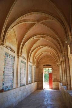 """Pater Noster (Jerusalem, Israel):    The convent is located at the site of the ruins of the Byzantine Eleona Basilica, which was built over a cave where according to tradition was the place where Jesus hid with his disciples and taught the """"Our Father"""" (Pater Noster) prayer."""