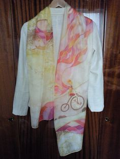 Hand painted Silk scarf in yellow pink by LGIFTSLithuania on Etsy