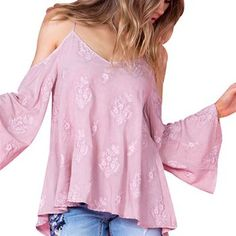 Miss Me Women's Only For You Bell Sleeve Top