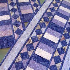 Batik Table Runner Quilted Table Runner Batik Quilted Placemats Purple Blue Lavender. $80.00, via Etsy.