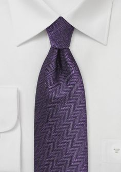 Dark Purple Mens Tie with Herringbone Design - $10