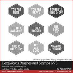 HexaWords Brushes and Stamps No. 03 - Photoshop Brushes DesignerDigitals