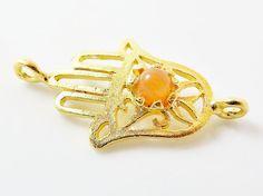 Hamsa Hand of Fatima Connector with Orange Jade by LylaSupplies, $3.50
