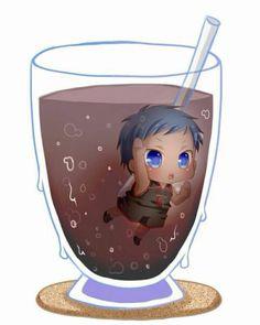 Aomine~Kuroko no Basket Kawaii Chibi, Cute Chibi, Kawaii Cute, Anime Chibi, Kawaii Anime, Manga Anime, Kuroko No Basket, Aomine Kuroko, Kuroko Chibi
