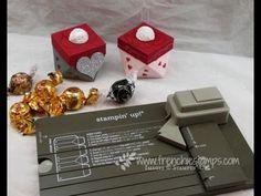 Diamond Box made with gift bag punch board (video tutorial) Gift Bag Punch Board, Flower Punch Board, Envelope Punch Board, Stampin Up, Scrapbook Box, Box Maker, Diy Gift Box, Pillow Box, Craft Box