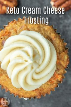 These Low Carb Carrot Cake Cupcakes are a moist, delicious, low carb dessert packed with carrots and pecans, and topped with keto cream cheese frosting! Keto Cupcakes, Carrot Cake Cupcakes, Keto Cake, Keto Cookies, Chip Cookies, Almond Flour Recipes, Coconut Recipes, Keto Recipes, Dessert Recipes