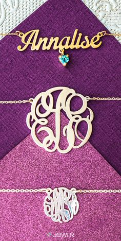 Design your own personalized name necklace or monogram pendant! Select your style, size and font and then personalize with your choice of metal, name and optional charms! It's the perfect gift for any occasion. Free shipping, free returns and a free gift with every purchase on Jewlr.com!