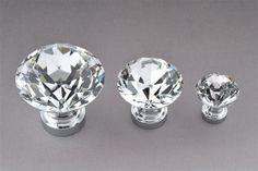 Clear Crystal Knobs Silvertone / Dresser Drawer Knobs Pulls Handles Sparkle  / Funiture Cabinet Door Handle Pull Knob Hardware
