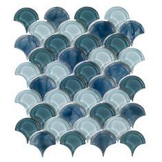 Glass Tile Backsplash, Glass Mosaic Tiles, Stone Mosaic, Blue Kitchen Backsplash, Tile Mosaics, Teal Kitchen, Mosaic Wall, Kitchen Redo, Wall Tiles