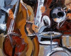 """Abstract Jazz Painting, Music Art, Instruments Painting """"Music Jazz"""" © Debra Hurd-Commissions of all sizes welcome!!"""