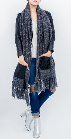 Chunky Knit Pocket Shawl with Lurex and Thick Fringe
