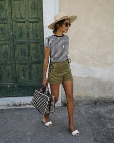 Julie Sarinana, Amalfi, Italy sincerelyjulesOff to go have more pizza! ❤️ / wearing @shop_sincerelyjules striped tee shopsincerelyjules.com