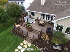 TimberTech Tropical Deck - Two-Tiered Design for Inset Hot Tub - Johnston (Des Moines) Hot Tub Deck, Hot Tub Backyard, Whirlpool Deck, Sunken Hot Tub, Tiered Deck, Vinyl Deck, Design Jardin, Backyard Patio Designs, Building A Deck