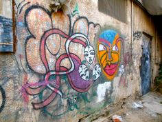African mask type graffiti from the Florentin workshop district of Tel Aviv. Friday 20 June 2014
