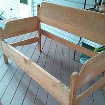 Made this cute bench out of a old headboard and foot board. FUN and so… :: Hometalk
