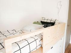 Bedroom Built Ins, Bedroom Desk, Closet Bedroom, Kids Bedroom, Cheap Bedroom Furniture, Bedroom Furniture Makeover, Ikea Nordli, Ikea Bed Hack, Cool Kids Rooms